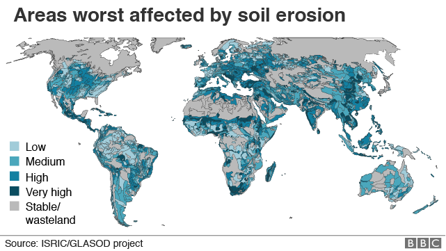 Map showing areas worst affected by soil erosion in the world