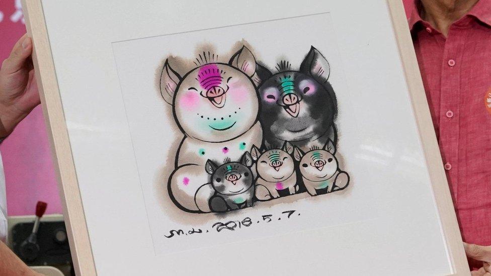 Diseño para el nuevo año chino, que en 2019 será el año del cerdo.