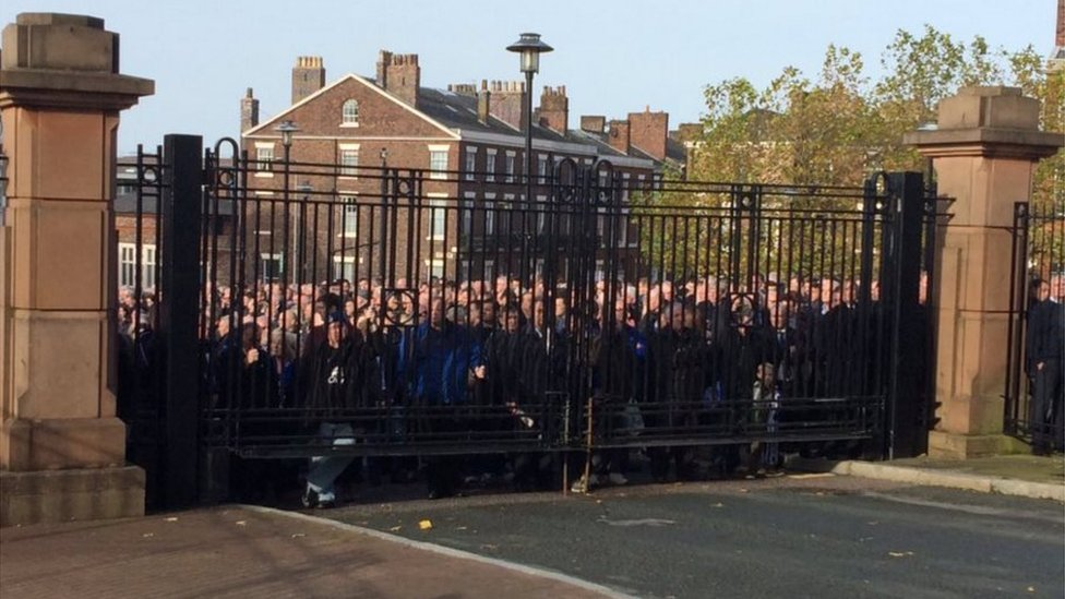 Mourners outside