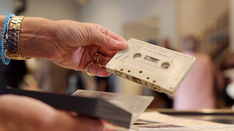The tape cassette with the recording of John Lennon's song
