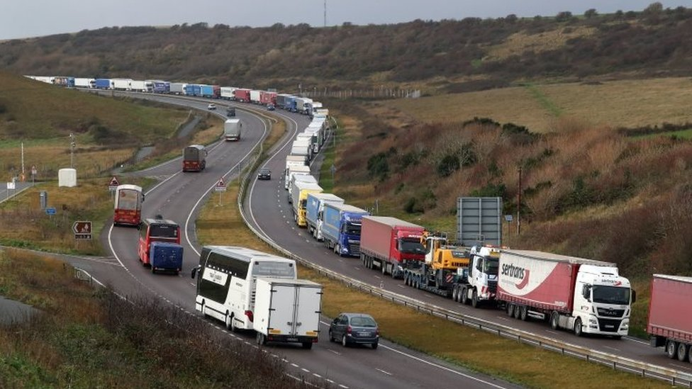 Huge lorry queues to enter Dover port in Kent