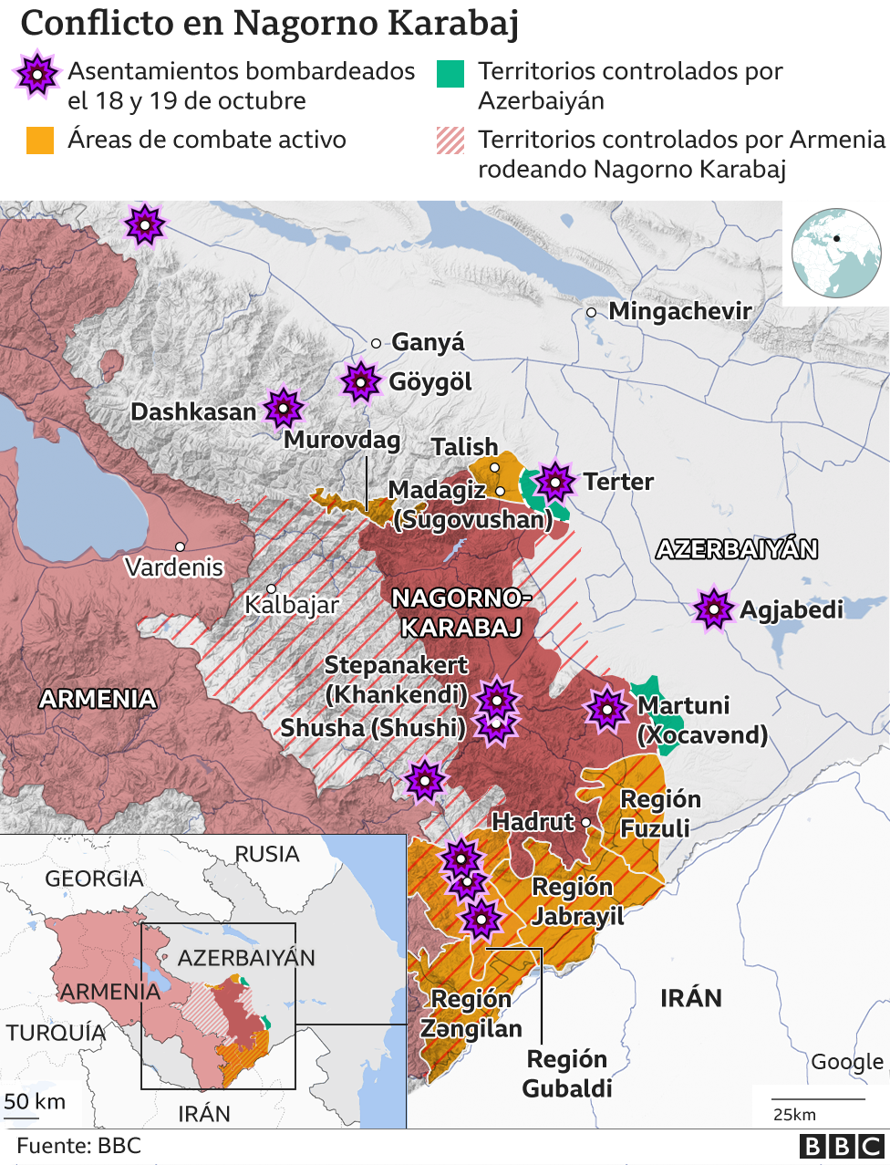 Mapa de la zona de conflicto en Nagorno Karabaj