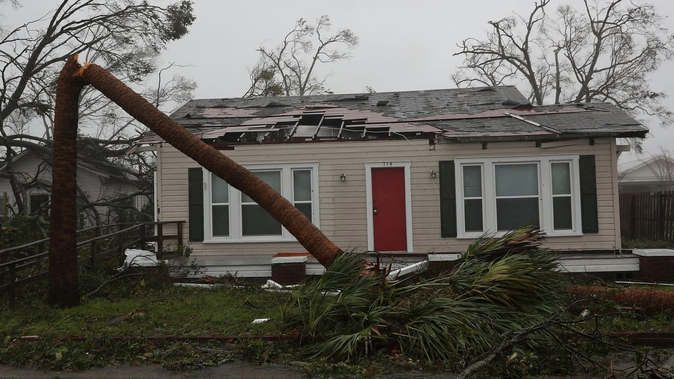 A damaged home is seen after hurricane Michael passed through Panama City, Florida