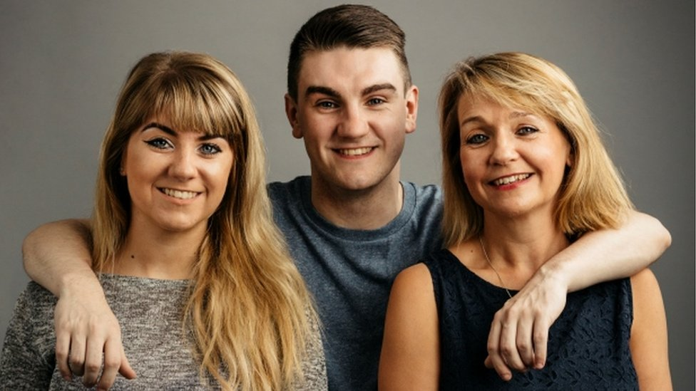 Jim Lynskey with his twin sister Grace (left) and mother Collette (right)