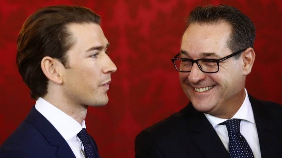 Austrian Vice Chancellor Heinz-Christian Strache (right) of the Freedom Party (FPO) smiles next to Chancellor Sebastian Kurz of the People's Party