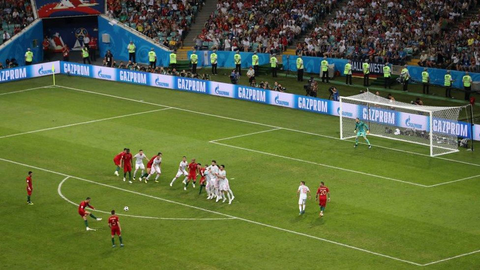 El tiro libre de Ronaldo fue como un misil teleguiado.
