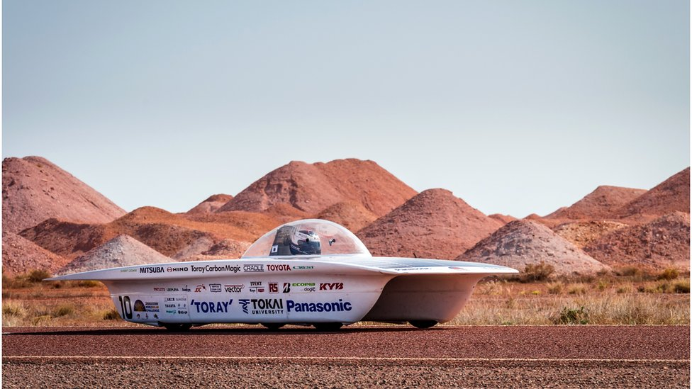 The Tokai University car from Japan competes during the fourth day of the 2015 World Solar Challenge in Coober Pedy, Australia, on Wednesday, 21 October 2015