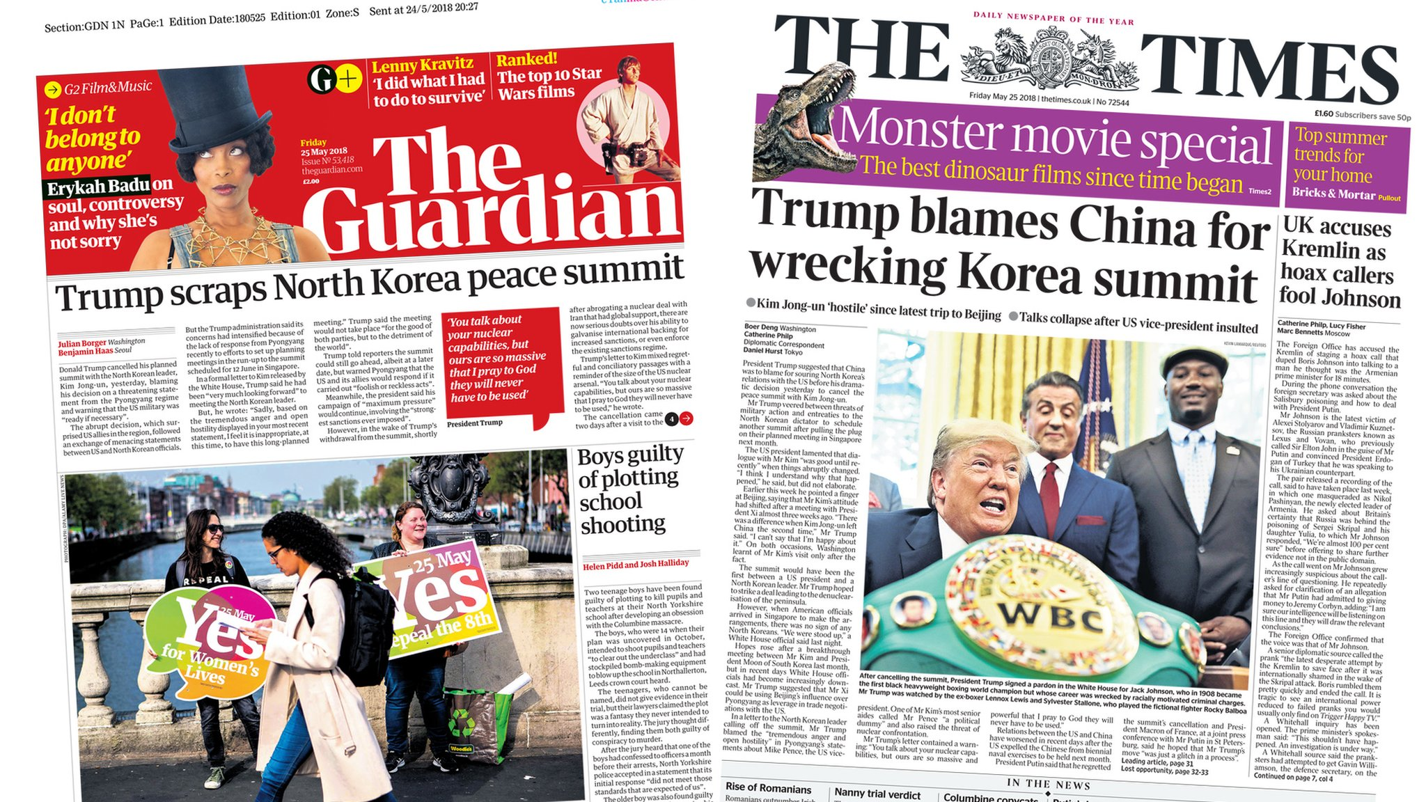 The Papers: Uncertainty as Trump cancels N Korea talks