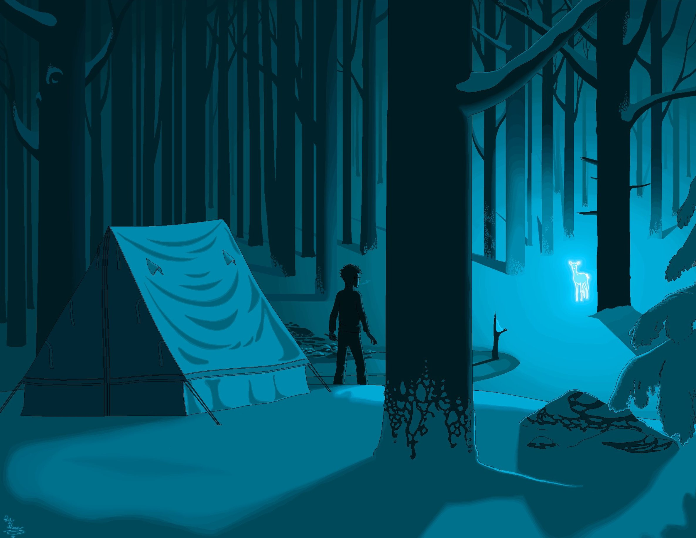 Harry Potter seen standing outside a tent in a forest at night, as a glowing Silver Doe approaches