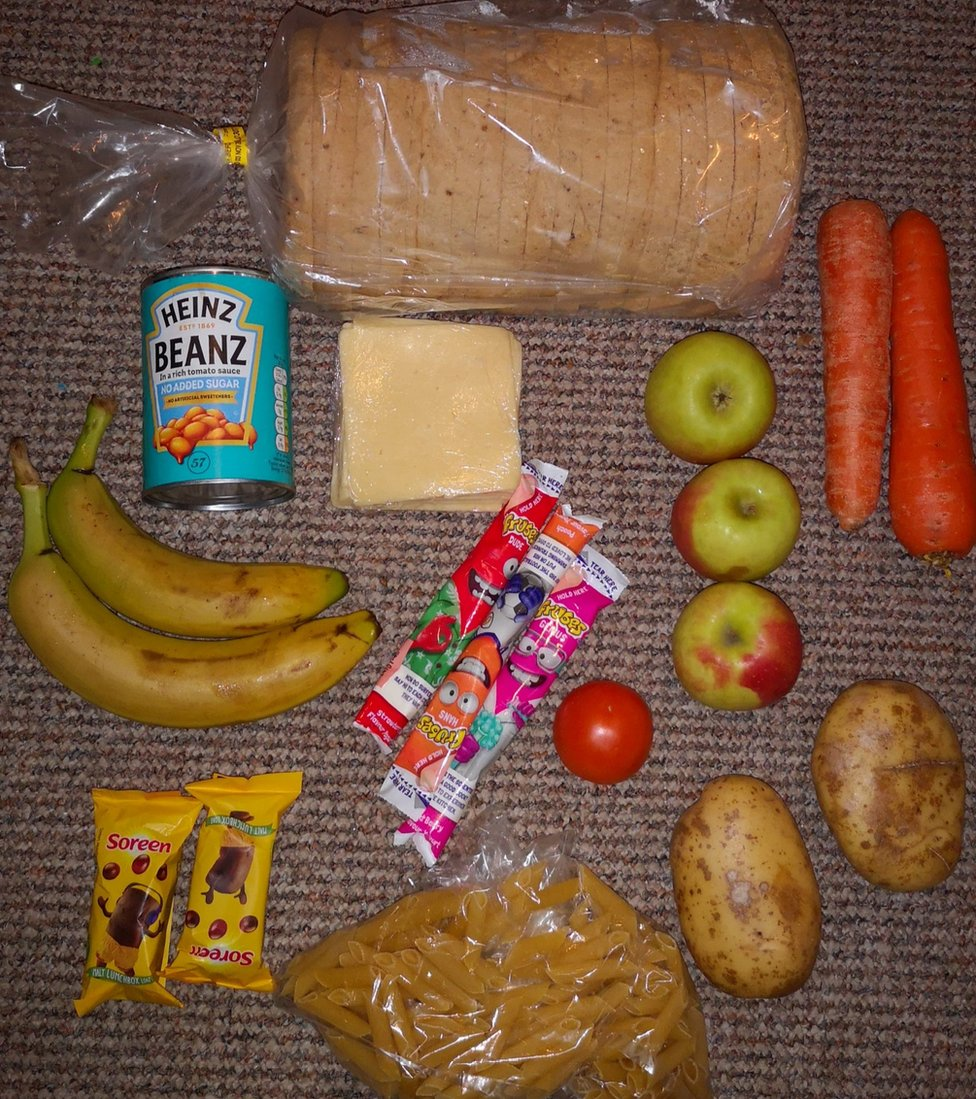 A food parcel received by Twitter user Roadside Mum