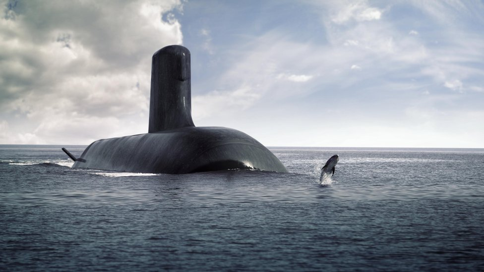 Artist's impression of the Shortfin Barracuda submarine and a dolphin