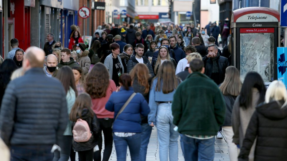 Footfall was heavy in parts of Belfast city centre on Sunday, days ahead of a two-week lockdown
