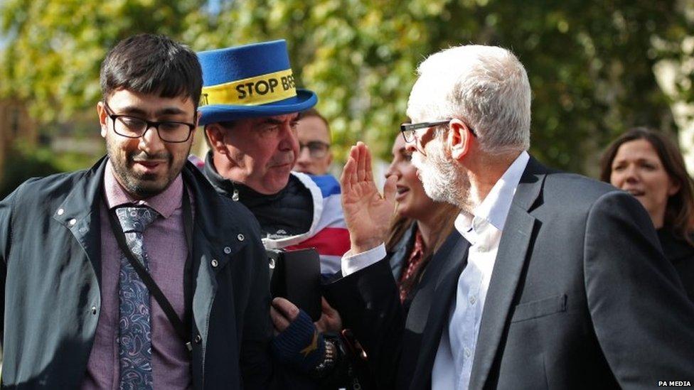 Steve Bray remonstrating with Jeremy Corbyn last month