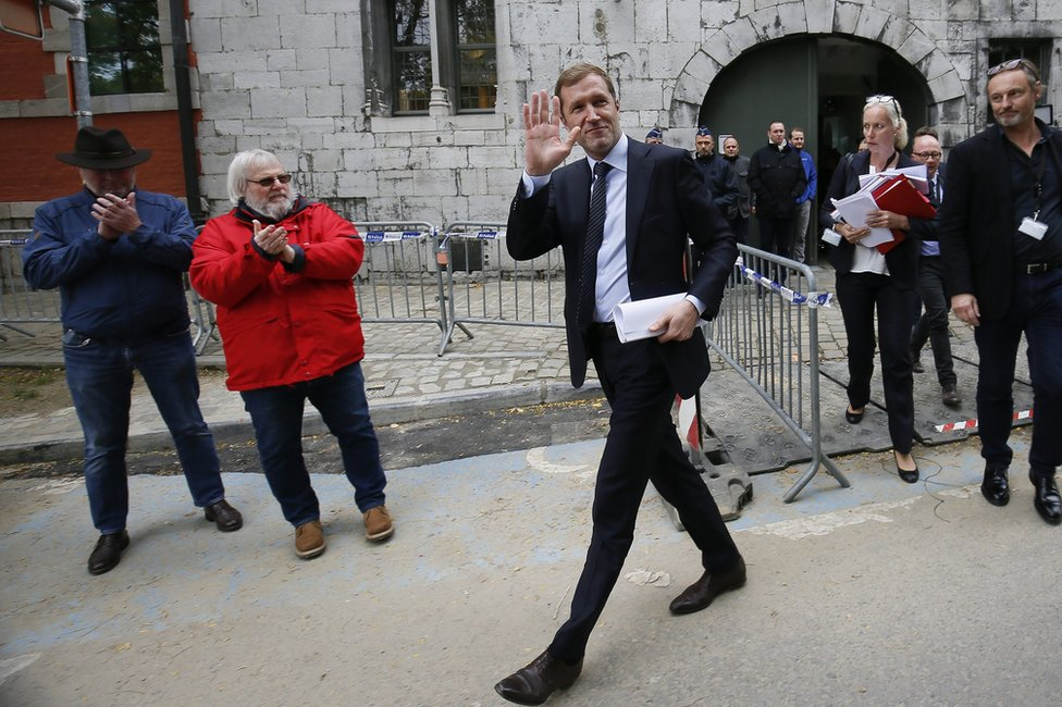 Walloon Minister President Paul Magnette (C) leaving the Walloon parliament in Namur, Belgium, 21 October 2016