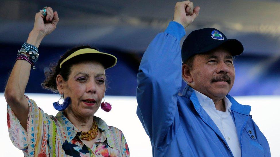 Daniel Ortega y su esposa en 2018.