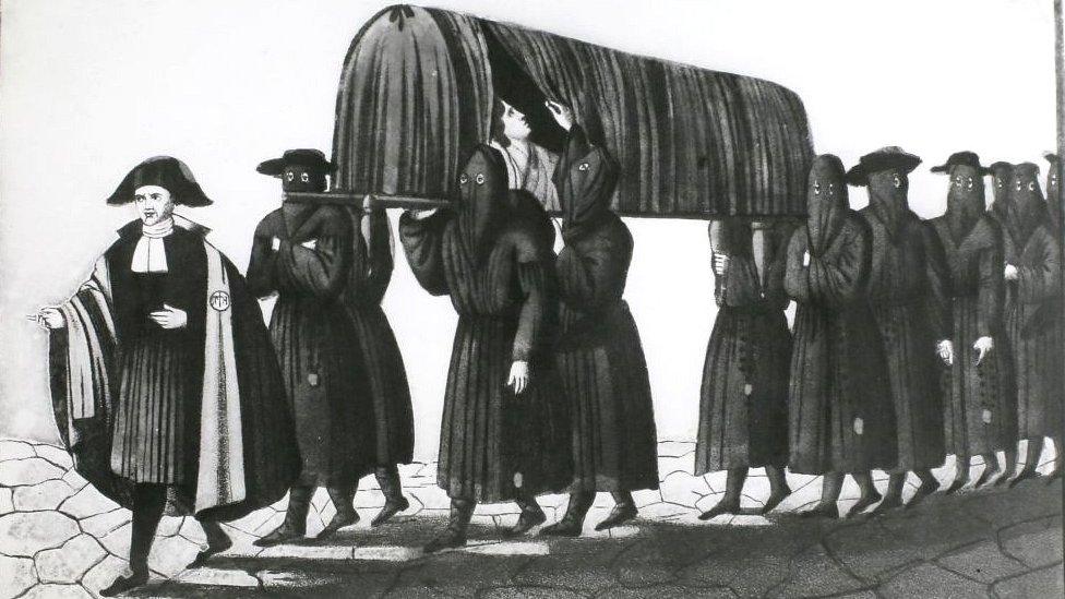 Dibujo de hombres en Florencia, Italia, cargando a un enfermo de la peste