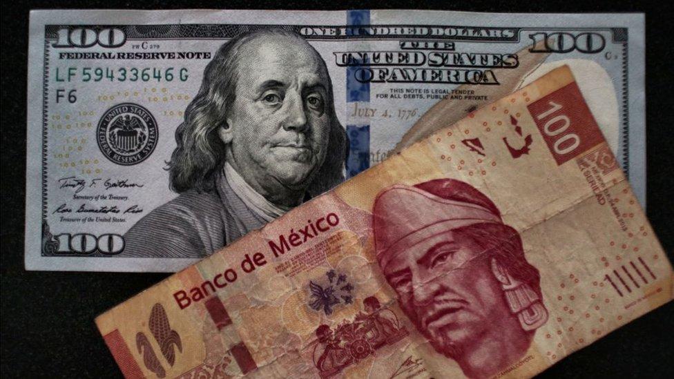 Dólar y peso mexicano