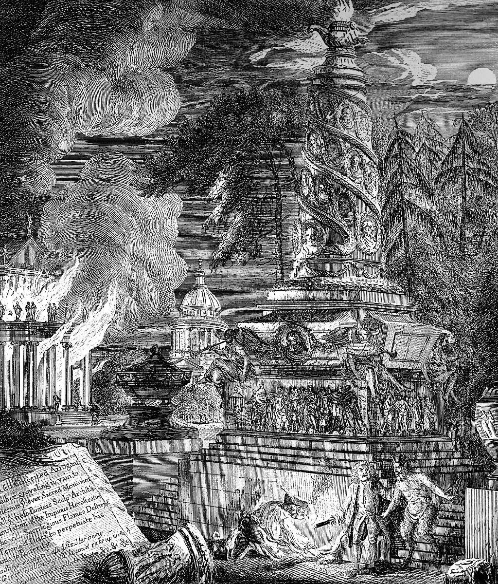 """""""La quema del templo de Éfeso"""", ilustración de George Paston [seudónimo de Emily Morse Symonds], 1753."""