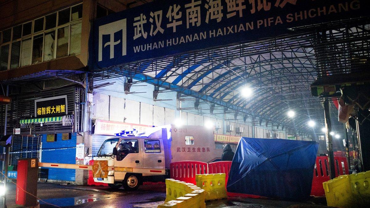 El mercado mayorista de mariscos de Huanan, en Wuhan, 11 January 2020