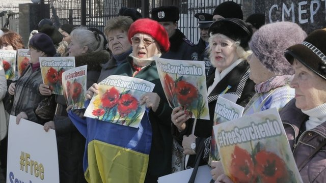 Supporters of Nadia Savchenko in Kiev, Ukraine