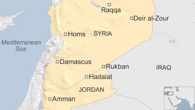 Map showing locations of Rukban and Hadalat
