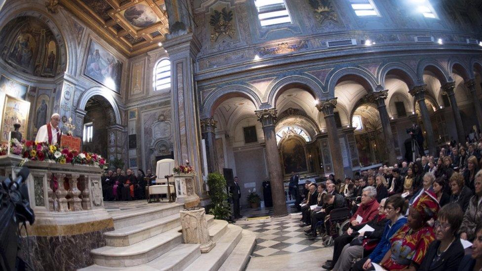 Pope Francis celebrated a Mass at the basilica of St Bartholomew on Saturday