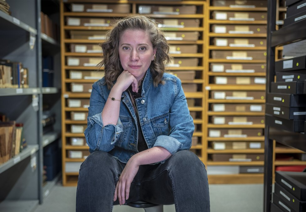 Fern Riddell at Museum of London archive