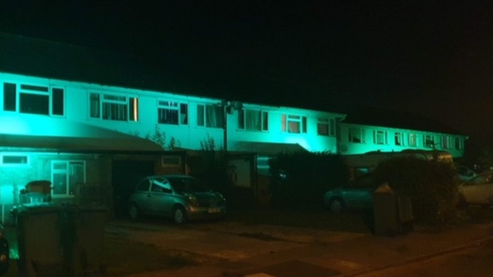 Chinnor homes lit up green