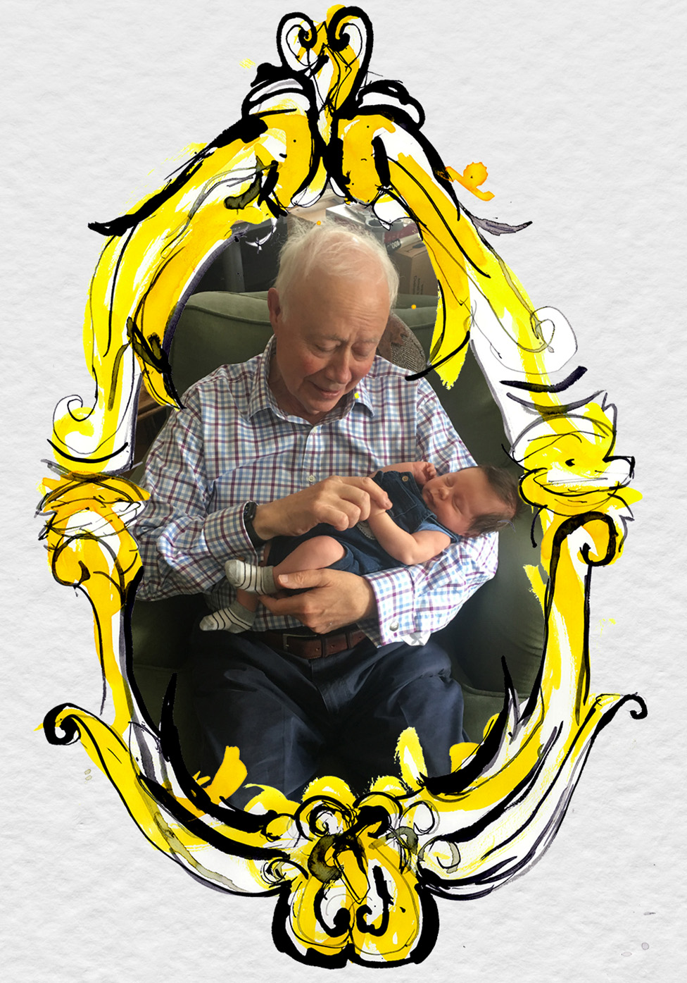 John Marriott cuddling his first grandson, Ollie