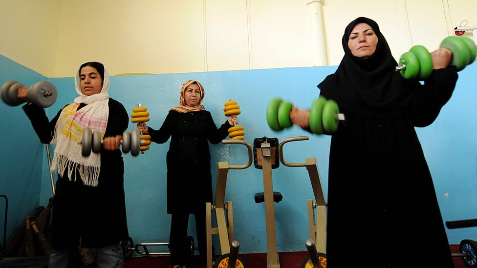 Afghan women exercise at the Setara Sahar Afghan Bodybuilding Gym in Herat, 2008