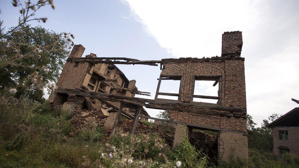 Ruined homes of Kashmiri pandits