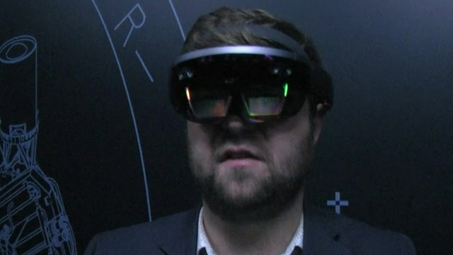 Dave Lee wearing the Hololens headset