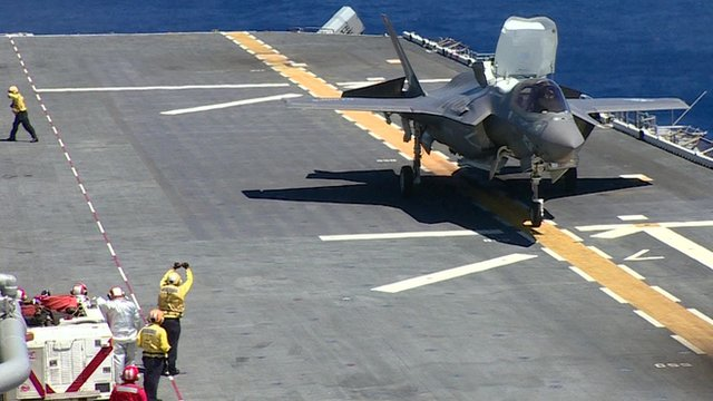 F35 jet on aircraft carrier
