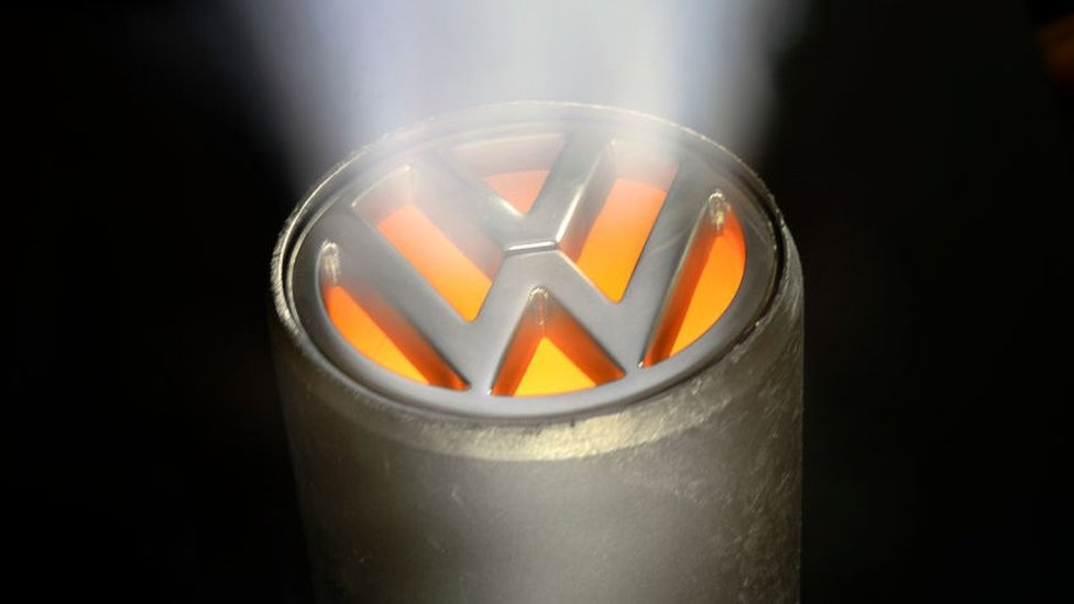 Volkswagen car exhaust pipe