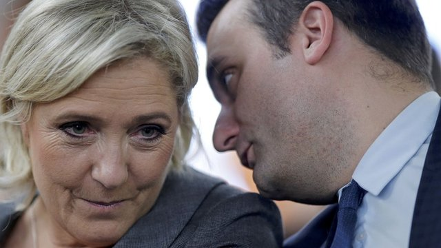 Marine Le Pen and vice-president Florian Philippot
