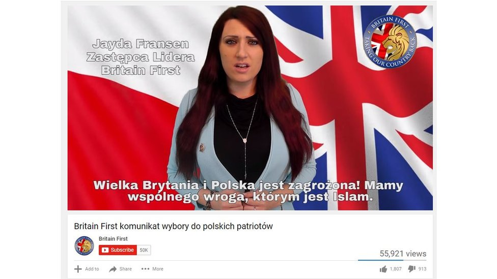 YouTube video in Polish from Britain first