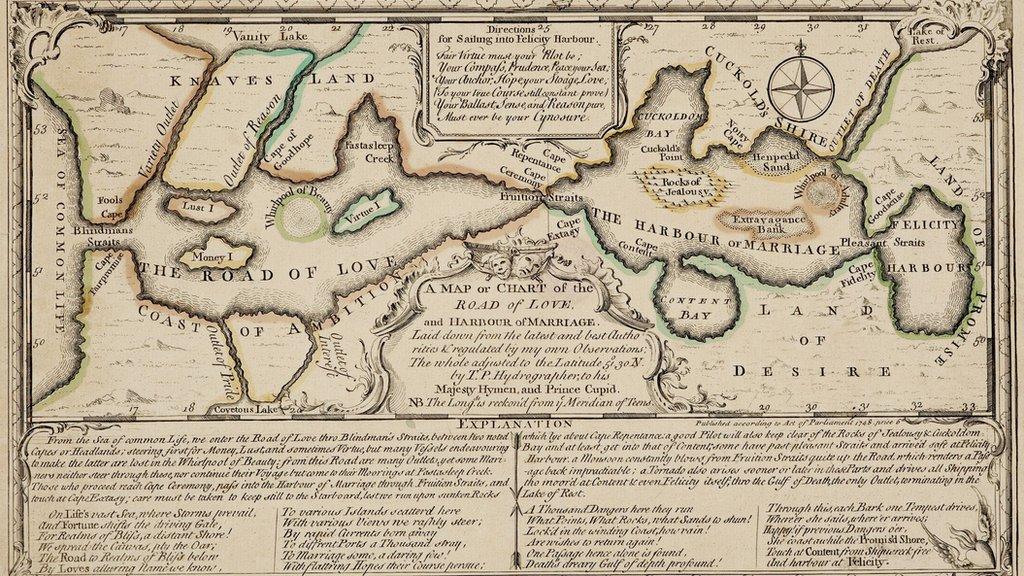 """""""Un mapa o gráfico del camino del amor y el puerto del matrimonio"""""""