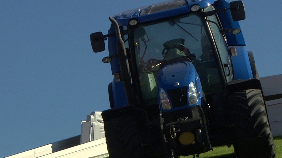 The world's first methane powered tractor in Turin, Italy