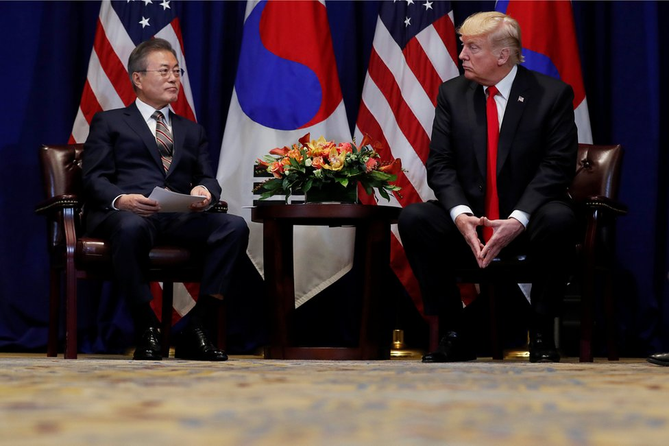 US President Donald Trump (right) with South Korean President Moon Jae-in in New York, 24 September