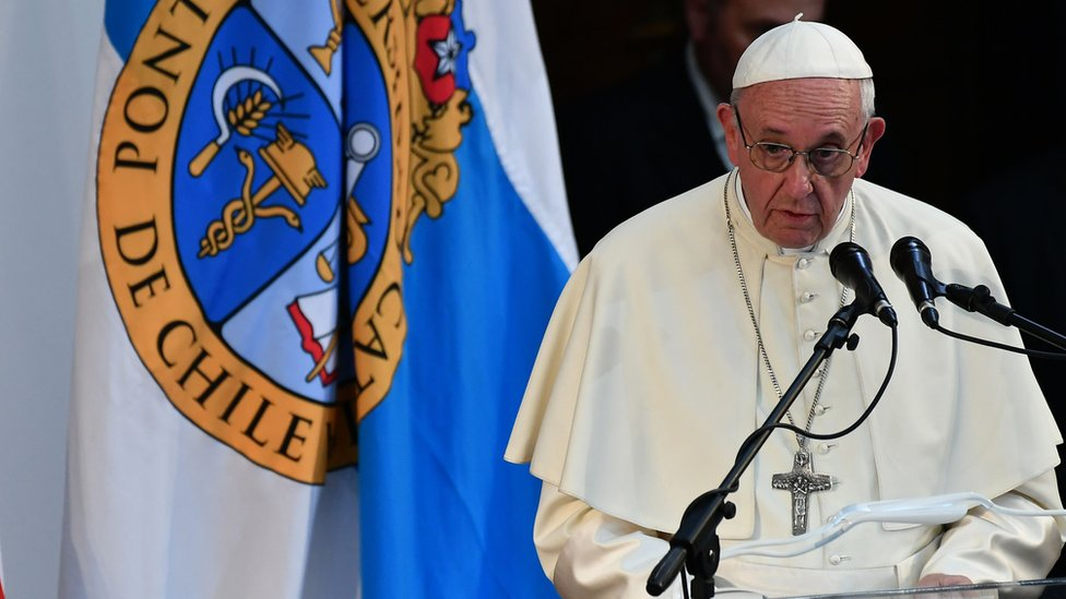 Pope Francis speaks at the Pontifical Catholic University of Chile, in Santiago on January 17, 2018.