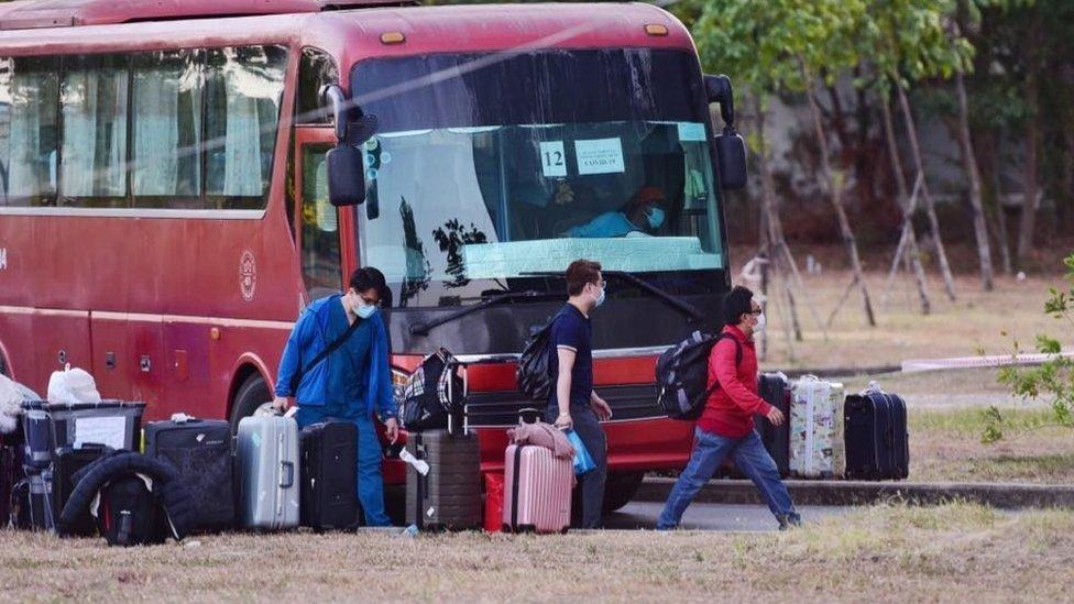 New arrivals in Vietnam arrive at a quarantine centre