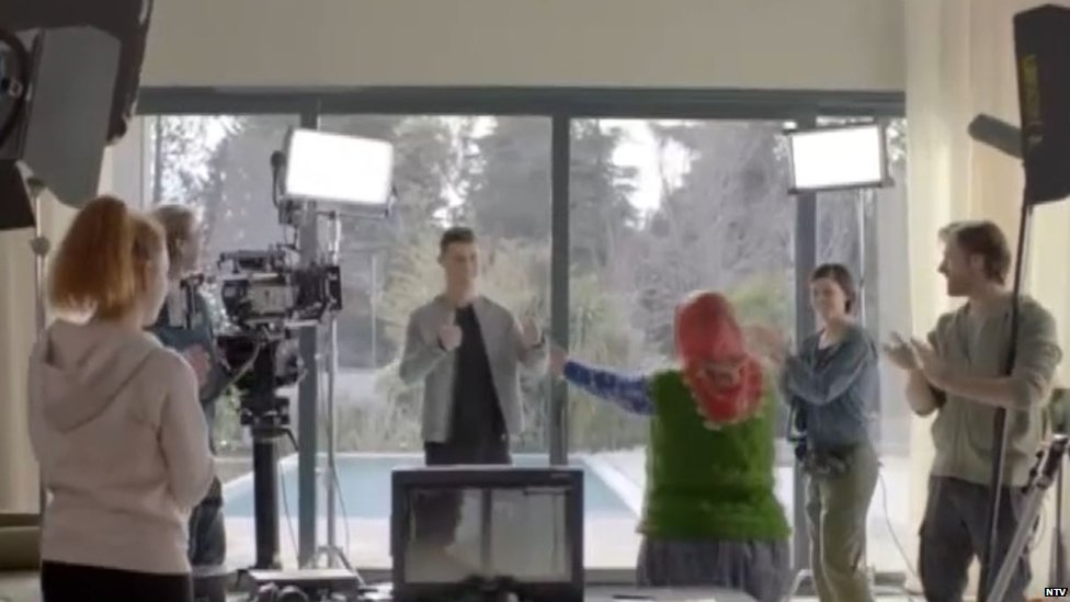 Turkish granny filming ad with Christiano Ronaldo