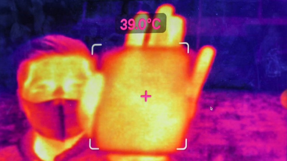 A thermal image showing a person's temperature measured by an augmented reality (AR) headset, in Hangzhou, China.
