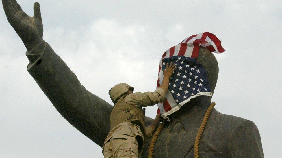 غزو أمريكا للعراق واحتلاله عام 2003 كان من تداعيات هجمات سبتمبر 2001 الارهابية