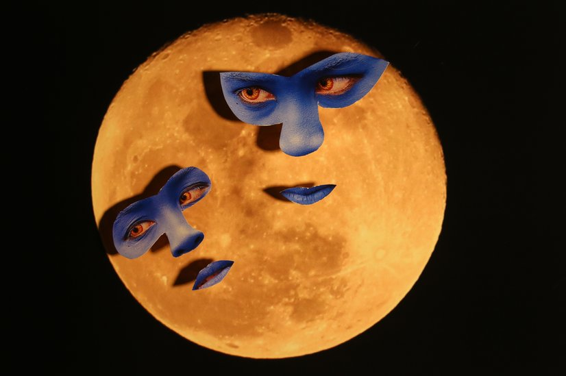 Cut out of the moon and masks