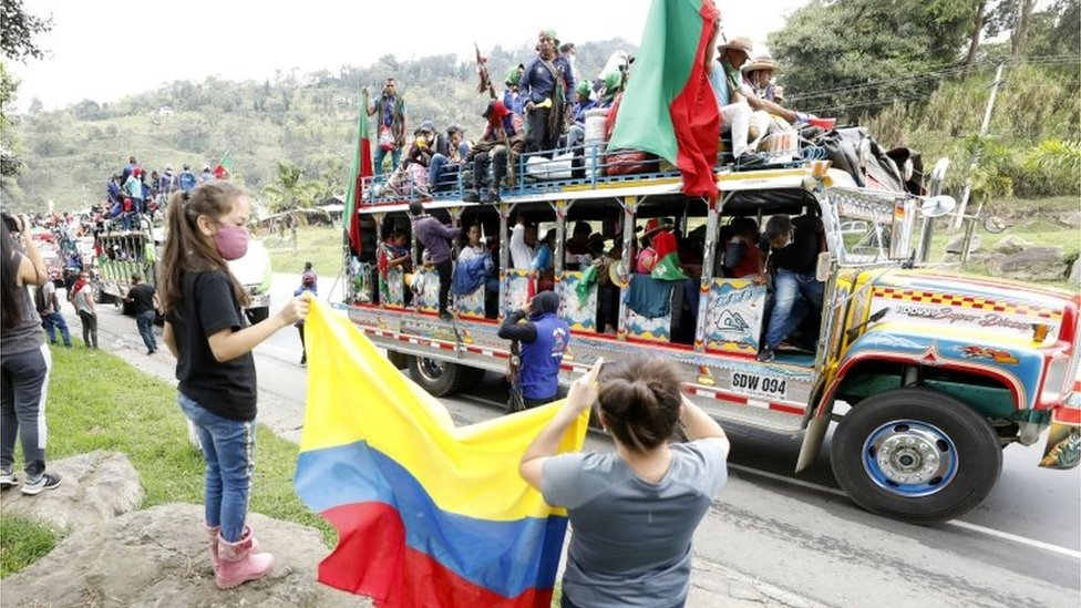Indigenous people from Cauca region arrive in a buses caravan with the intention of speaking with Colombian President, Ivan Duque, in Soacha, Colombia, 18 October 2020
