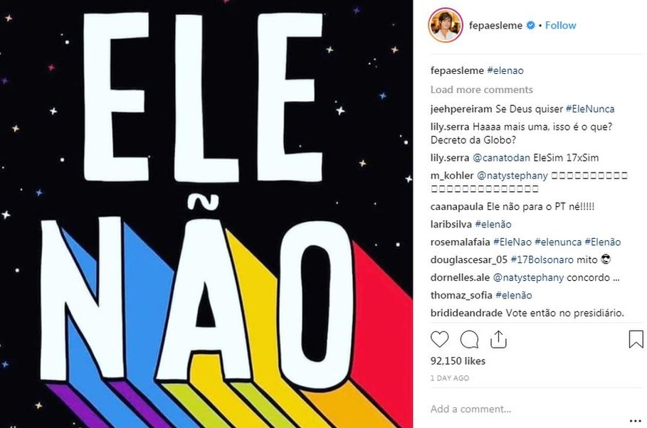 An anti-Bolsonaro post with the hashtag #EleNao