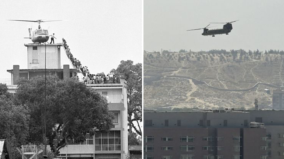 Composite image of a helicopter landing on the roof of the US embassy in Kabul in 2021 and a helicopter parked on the roof of the US embassy in Saigon in 1975