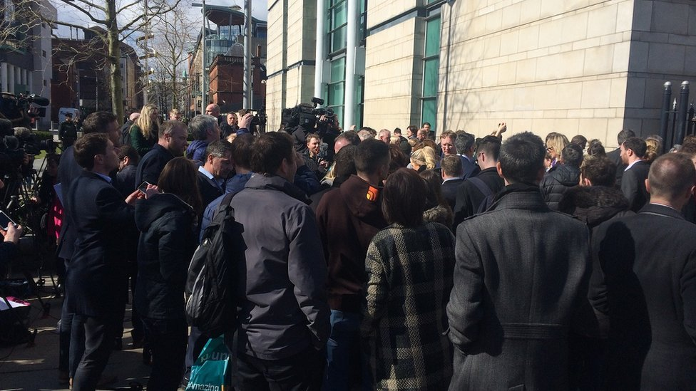 Crowd gathered outside Laganside courthouse after the rugby rape trial verdicts