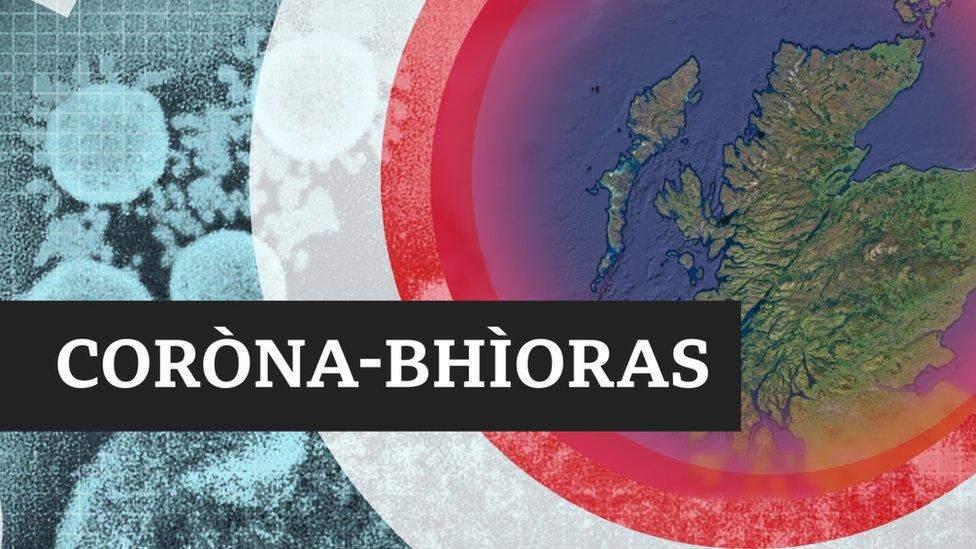 Mapa Cheann a Tuath na h-Alba le Coròna-bhìoras sgrìobhte air